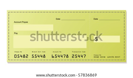green dollar bank cheque with space for your own information - stock vector
