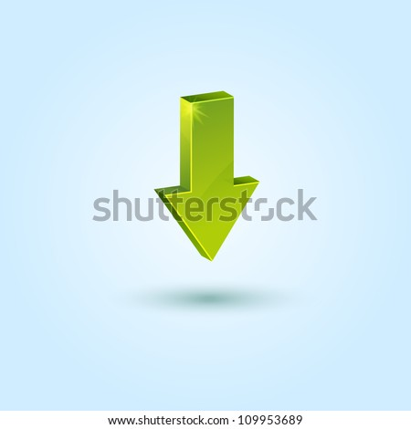 Green down arrow symbol isolated on blue background. This vector icon is fully editable. - stock vector