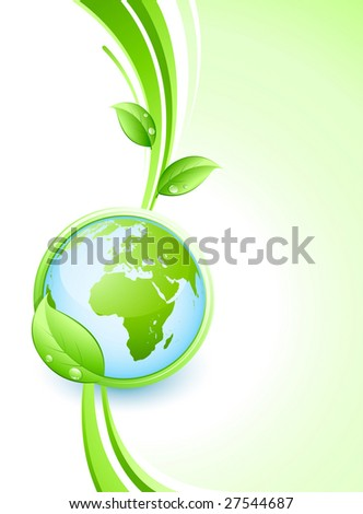 Green earth and leaves - stock vector