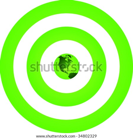 Green Earth at Center of Green Target - stock vector
