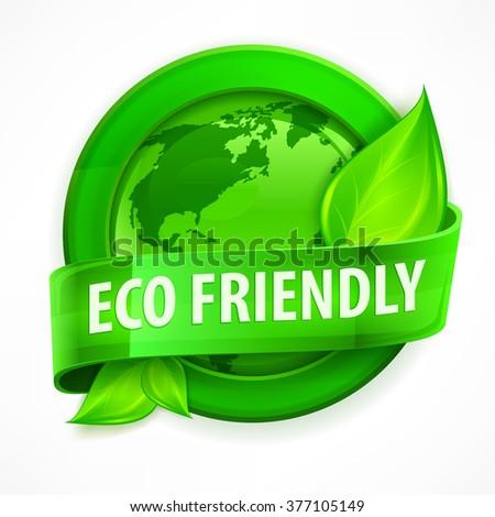 Green earth concept, Eco friendly round vector illustration - stock vector