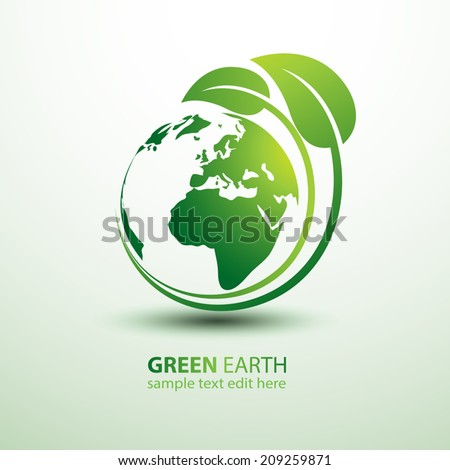 Green earth concept with leaves,vector illustration - stock vector