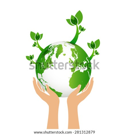 Green earth eco concept - stock vector