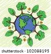 Green earth globe, vector - stock vector