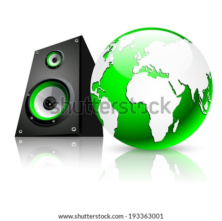 Green earth globe with sound speaker on white background - stock vector