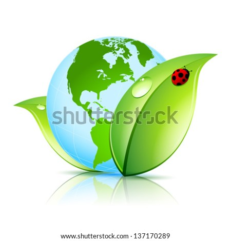 Green Earth Icon with Leaves and Ladybird - stock vector