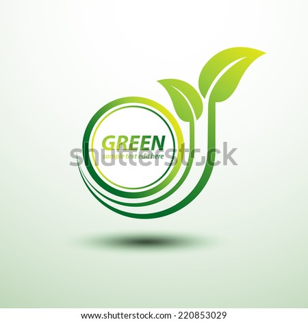 Green earth labels concept with leaves,vector illustration - stock vector