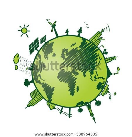 green earth, recycle; environmental - stock vector