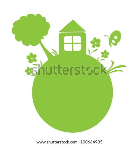 Green earth vector - stock vector