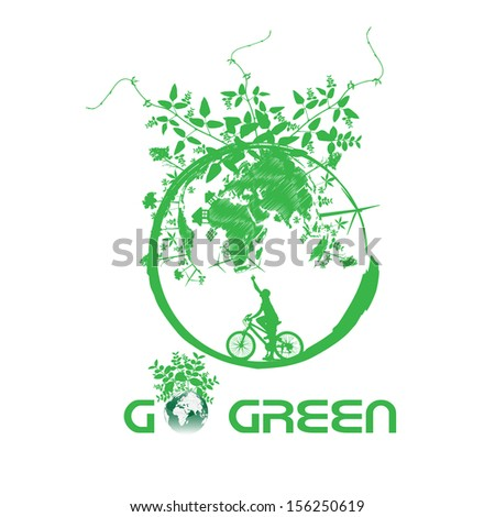 Green earth with bike reduce CO2 - stock vector