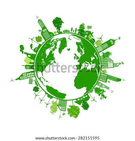 Green earth with city energy save concept - stock vector