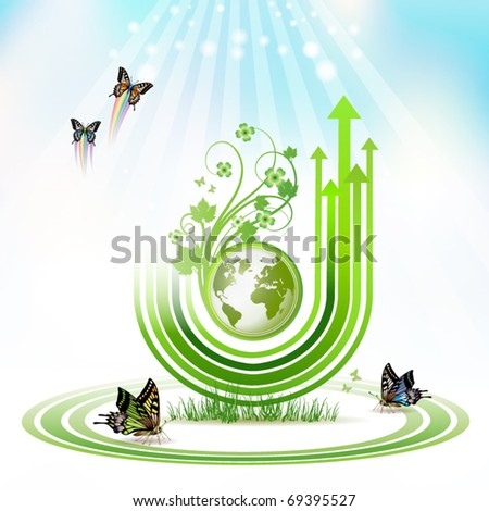 Green Earth with green arrow stripes and butterflies over sky background, vector illustration - stock vector
