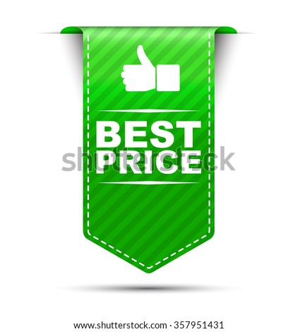 Green easy vector illustration isolated ribbon banner best price. This element is well adapted to web design. - stock vector