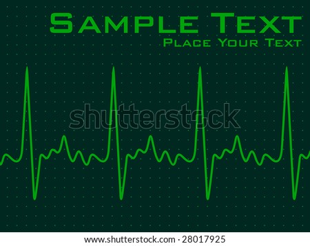 green ecg background with life line and sample text