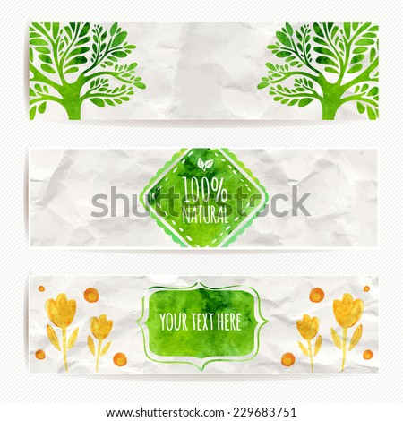 Green eco banners. Vector labels with watercolor texture on white rumpled paper.  Artistic design for natural products (cosmetic, food, craft).  - stock vector