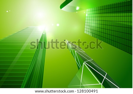 Green eco business city background - stock vector