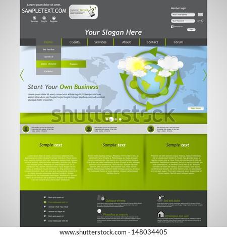 Green eco Business Website Template - stock vector