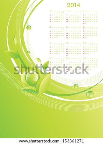 Green Eco Calendar 2014, Copyspace For Your Company Advertising