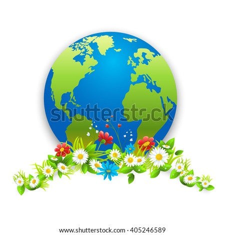 Green eco card. Concept for design banner,ticket, leaflet and so on.Template page for Earth day. Holiday card. Green globe and flowers.