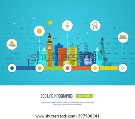 Green eco city and eco life infographic. Modern energy safety. Ecology concept - stock vector