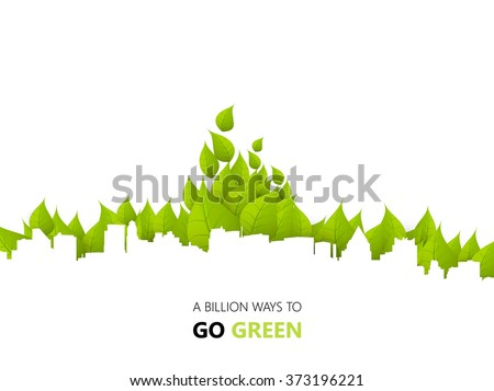 Green Eco City Background Design - stock vector