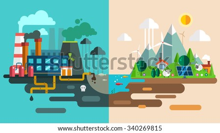 Green eco city die ecology concept. New energy type. Modern energy safety. Power energy station factory toxic waste. New eco technology vector illustration. Ecology concept, city for future people - stock vector