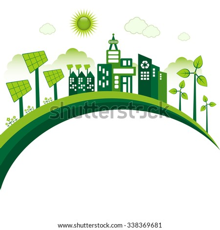Green Eco city living concept. Copy space for your text. - stock vector