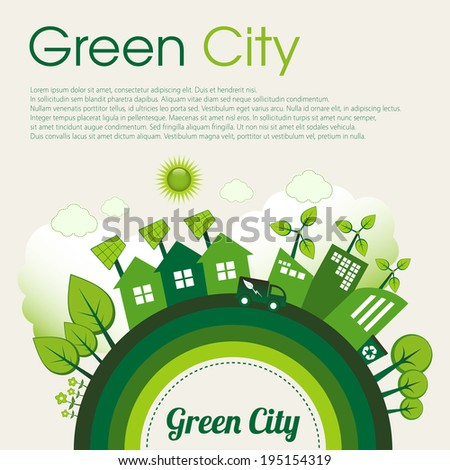 Green Eco city living concept with sample text. - stock vector