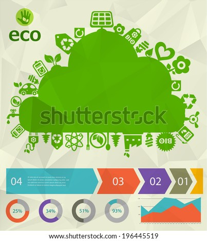 Green eco cloud placard with step option banners. Image contains transparency, EPS10