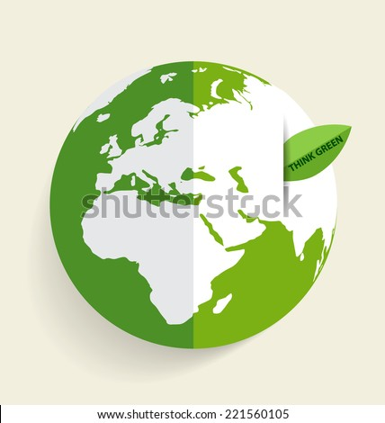Green Eco Earth, Green earth with green leaf. Vector Illustration - stock vector