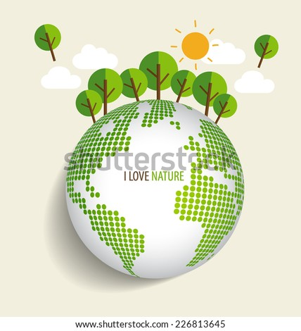 Green Eco Earth, Green earth with trees. Vector Illustration - stock vector