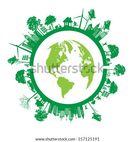 Green Eco Earth, Isolated On White Background, Vector Illustration - stock vector