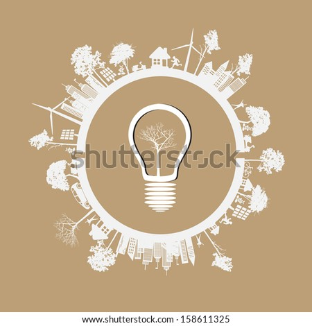 Green Eco Earth, On Brown Background, Vector Illustration - stock vector