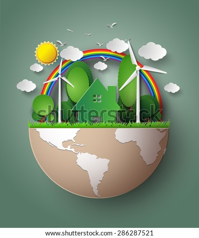 Green Eco Earth. paper cut style. - stock vector