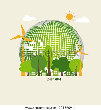Green Eco Earth. Vector Illustration. - stock vector