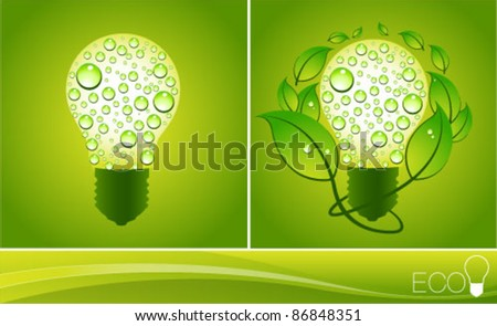 Green Eco Energy Concept, plant growing inside the light bulb. Graphic Design Editable For Your Design. - stock vector