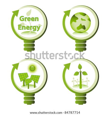 Green eco energy design concepts - green renewable energy, green earth, solar energy, wind energy. - stock vector