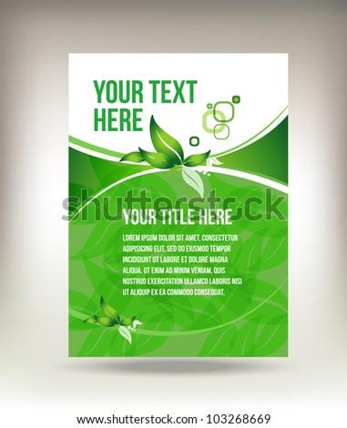 Green eco flyer design - stock vector