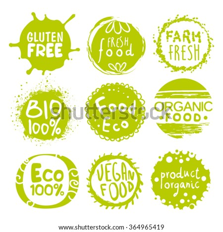 Green Eco Food Labels. Vector Illustration Collection - stock vector