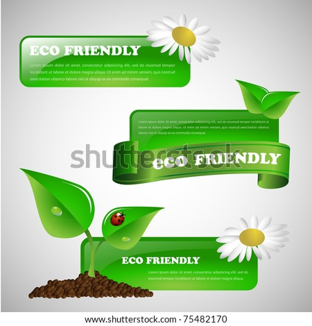 Green eco friendly banner collection - stock vector