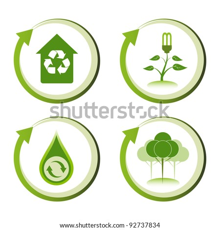 Green eco friendly design concepts. Green house, energy saving light, recycle water droplet, green reforestation. - stock vector