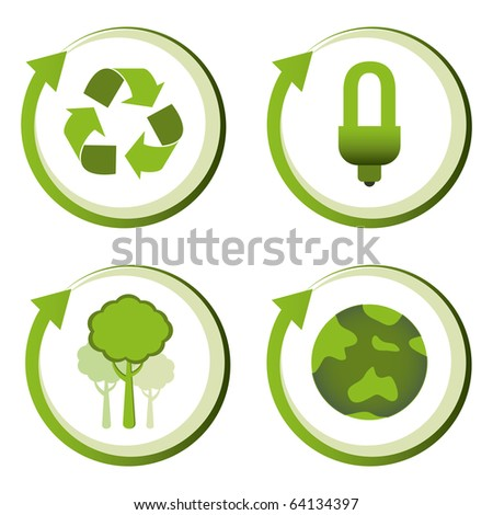 Green eco friendly design concepts - recycle, energy saving light bulb, reforestation, green earth. - stock vector