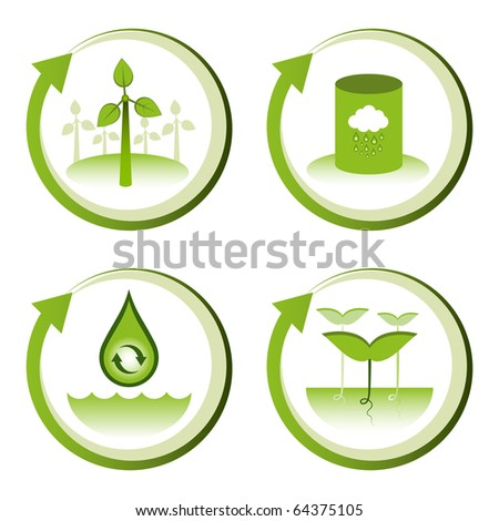 Green eco friendly design concepts – wind farm, rain water tank, water conservation, tree seedlings. - stock vector