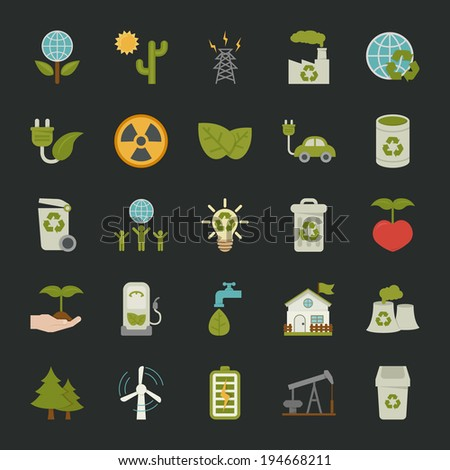 Green eco icons set , EPS 10 Vector Format - stock vector
