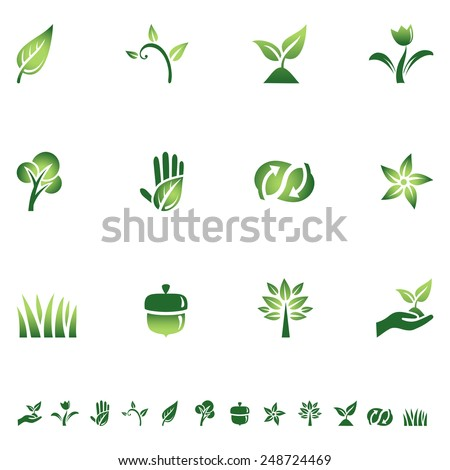 Green Eco Icons - Set of icons with different symbols of the green movement. Each icon is grouped individually for easy editing.  Colors are global, so they can be changed easily. - stock vector