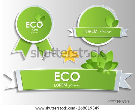 Green eco labels and badges. Vector EPS10. - stock vector