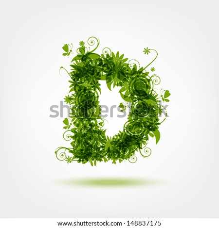 Green eco letter D for your design - stock vector