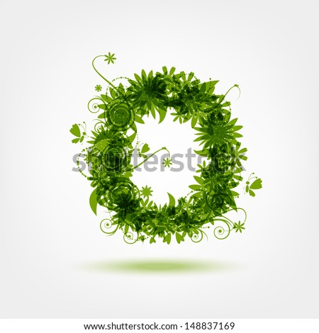 Green eco letter O for your design - stock vector