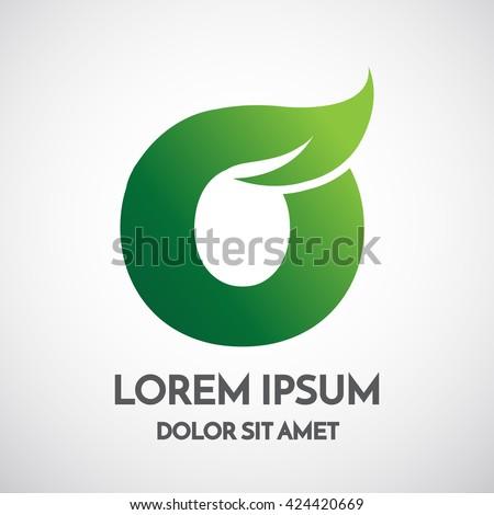 Green eco Letter O Logo Template Design - stock vector