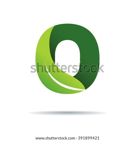 Green eco letters O logo with leaves. /symbol / alphabet / botanical / natural - stock vector